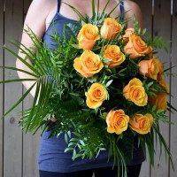 Gerro de 15 roses taronja