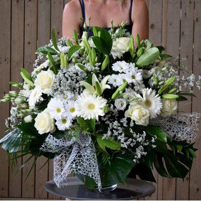 Gerro de flor variada blanc