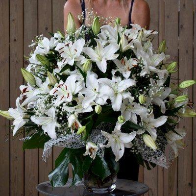 White lilium vase