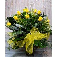Gerro de 15 roses grogues