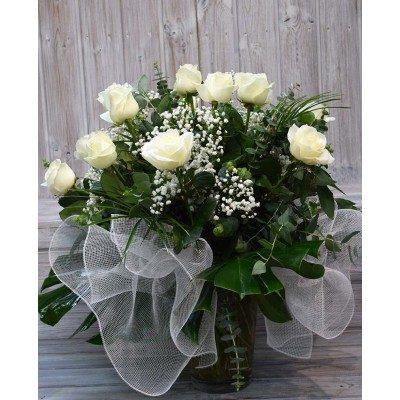 Jarrón de 15 rosas blancas