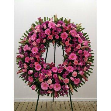 Corona Anémona en tonos lilas y rosas