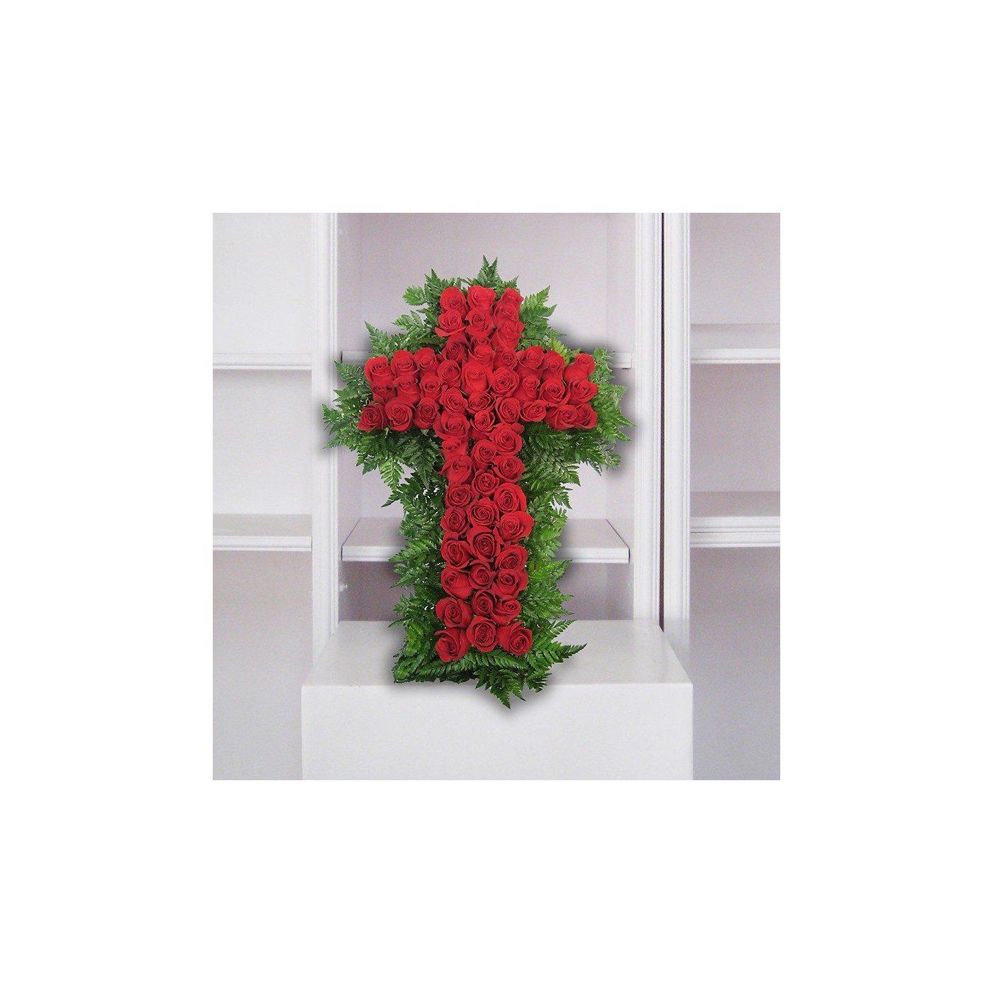 Cruz de rosas rojas