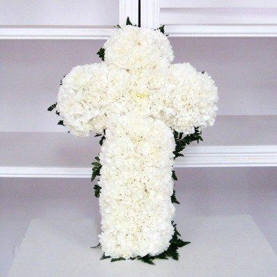 Creu de clavells blancs
