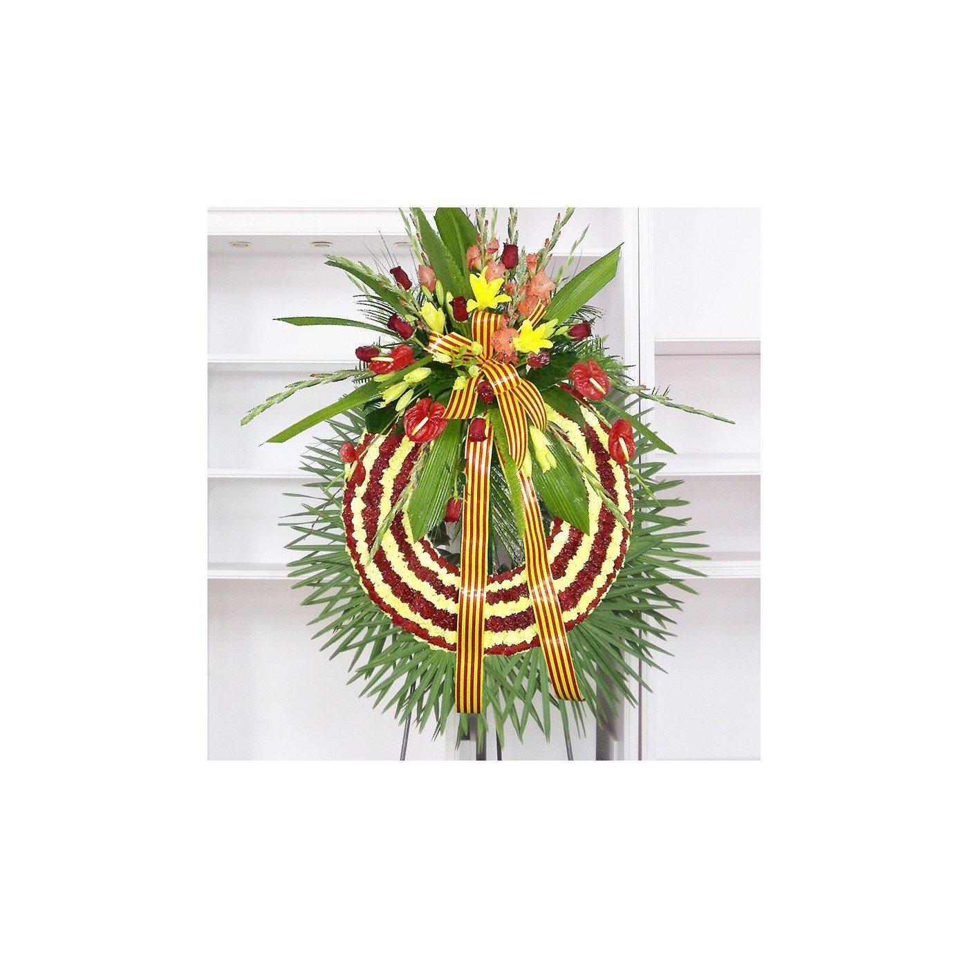Corona senyera de claveles rojos y amarillos