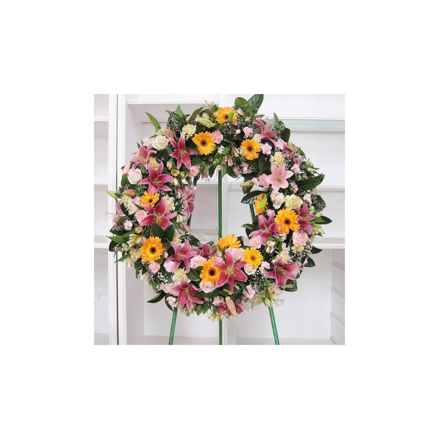 Corona Anémona en tonos rosas y naranjas