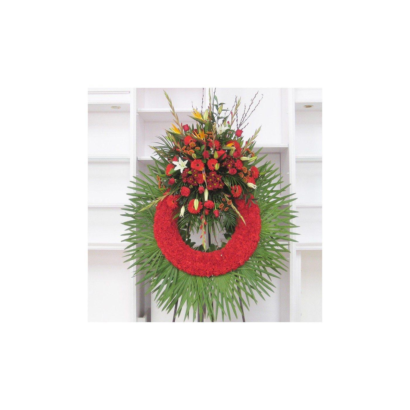 Corona clavel rojo con cabezal flor variada