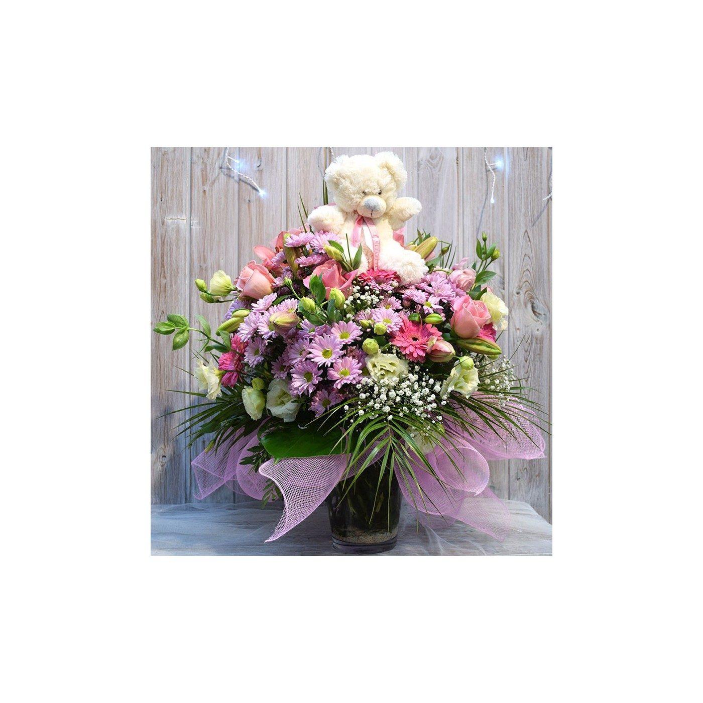 Gerro de flor variada nena amb peluix