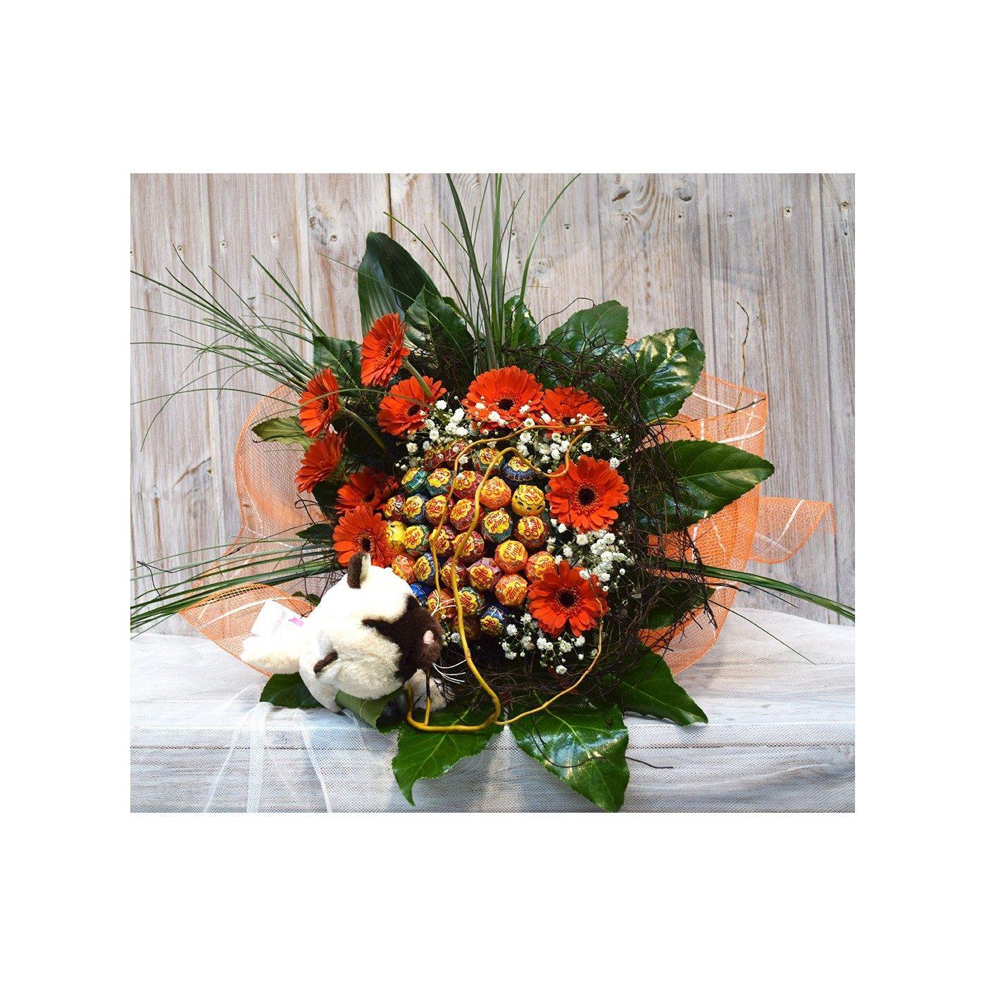 Bouquet de chupa-chups con detalle de flor y peluche