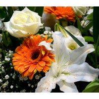 Jarrón de flor variada niño con peluche