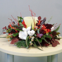 Centro navideño flor natural con vela