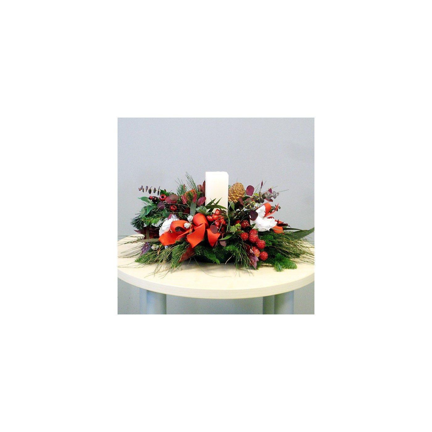 Centro navide o flor natural con vela flores navarro - Centros navidenos con velas ...