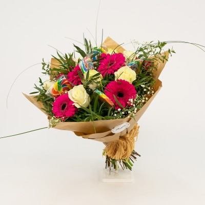Assorted flower bouquet and...