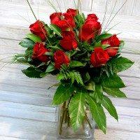 Bouquet en gerro petit 16 roses vermelles